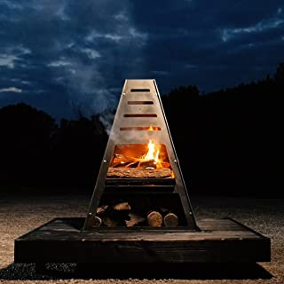 Bad Idea Pyro Tower Steel Fire Pit Charcoal Grill Metal Chiminea