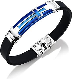 Mishow Men Bracelets Stainless Steel Silicone Sport Wristband Cross Bracelet Black/Blue/Gold, Adjustable