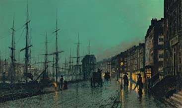 John Atkinson Grimshaw - Shipping on the Clyde , Size 14x24 inch, Poster art print wall décor