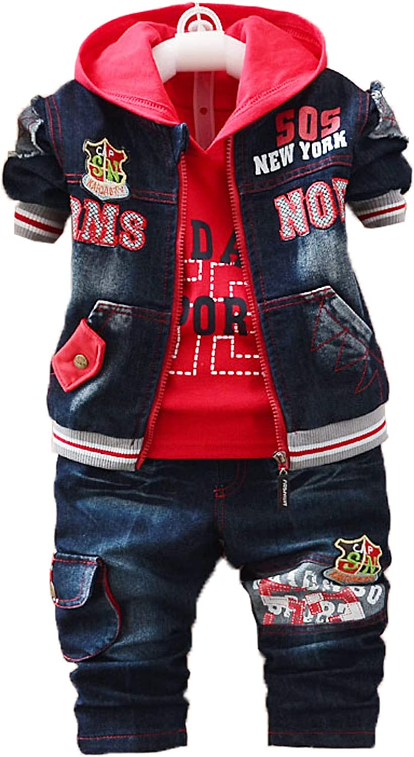 Yao Spring Autumn Baby Boys 3pcs Shirt Jeans Max 68% List price OFF Cotton Set Clothing