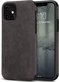 TENDLIN Compatible with iPhone 11 Case Premium Suede-Like Material Design Leather Hybrid Comfortable Grip Case (Brown)