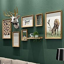Photo Wall Frames Collage,Large Photo Frames for Wall Wood, Large Vintage Photo Frames for Wall, Atmospheric Deer Head Mod...