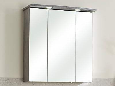 Badezimmer Spiegelschrank SALONA anthrazit 68cm mit LED-Beleuchtung #5423-84