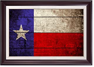 DECORARTS - Texas State Flag(Framed). Giclee Print on 100% Archival Cotton Canvas, Canvas Wall Art for Wall Decor. Finished Size: 34x24x1.5