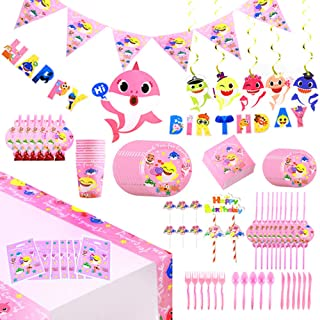 142 Pcs Baby Cute Shark Party Favor Party Decorations Pink Theme Birthday Party Supplies, Flatware, Spoons, Fork, Knife, Plates, Cups, Straws, Table Covers, Banner, Napkins Blowouts, Balloon, Cake Toppers, Pennant, Tablecloth Birthday Party Favor Pack Set