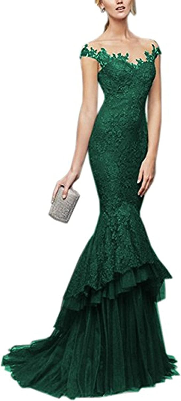 LEJY Women's Lace cap Sleeve Mermaid Evening Dress Sleeveless Evening Prom Gown ..
