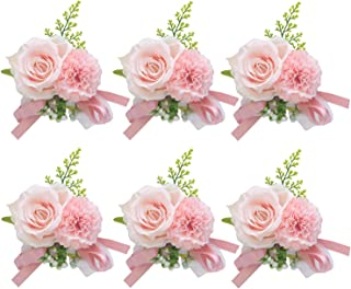 Pauwer Corsage Set of 6 Girl Bridesmaid Hand Flower Bracelet Silk Flower Wrist Corsage for Wedding Prom Party (E Corsage Set of 6)