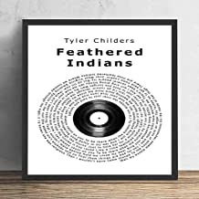Feathered Indians Vinyl Record Song Lyric Quote Print Wall Art Home Decor Graduation Gift Framed 12x12in