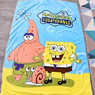 OKlife Throw Blanket Fleece Spongebob Cartoon Printing 56'' x 40'' Kid Super Plush Soft Warm for Napping, Couch Chair, Baby Crib, Living Room
