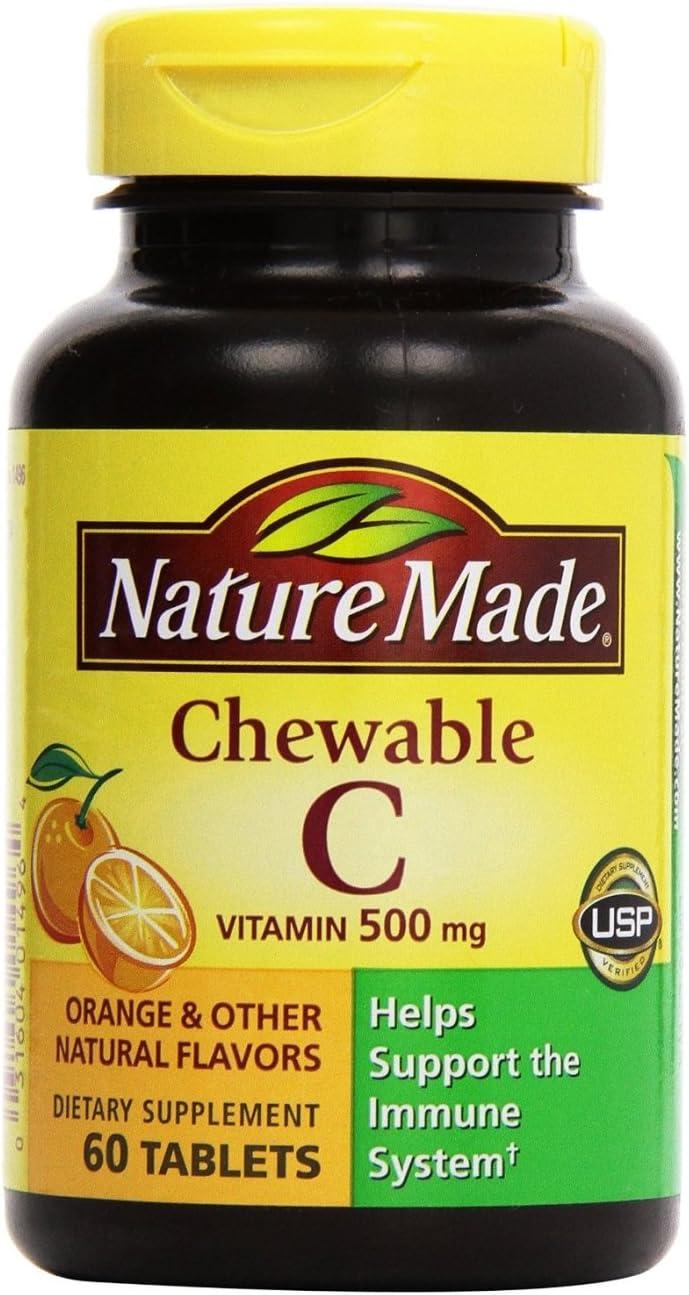 Nature Made まとめ買い特価 ついに入荷 Vitamin C 500 mg ea 60 Chewable Orange Pac Tablets