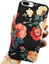J.west Compatible with iPhone 8 Plus Case, iPhone 7 Plus Girls Case, Floral Hard Anti-Scratch Shockproof Non Slip Matte Back Protective Red Rose Flowers Phone Case for Iphone 7 Plus /8 plus, Black