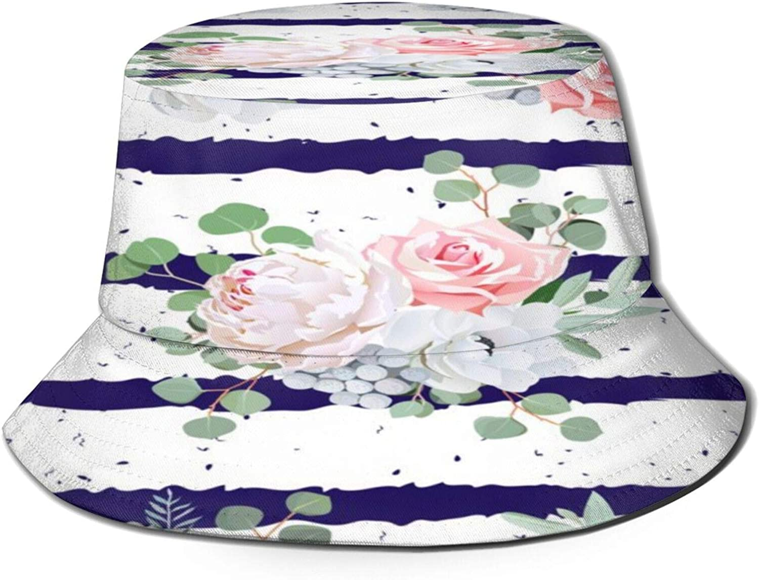 Navy Striped Bouquets Rose Bucket Unisex famous Summer Pack Sun Hat overseas