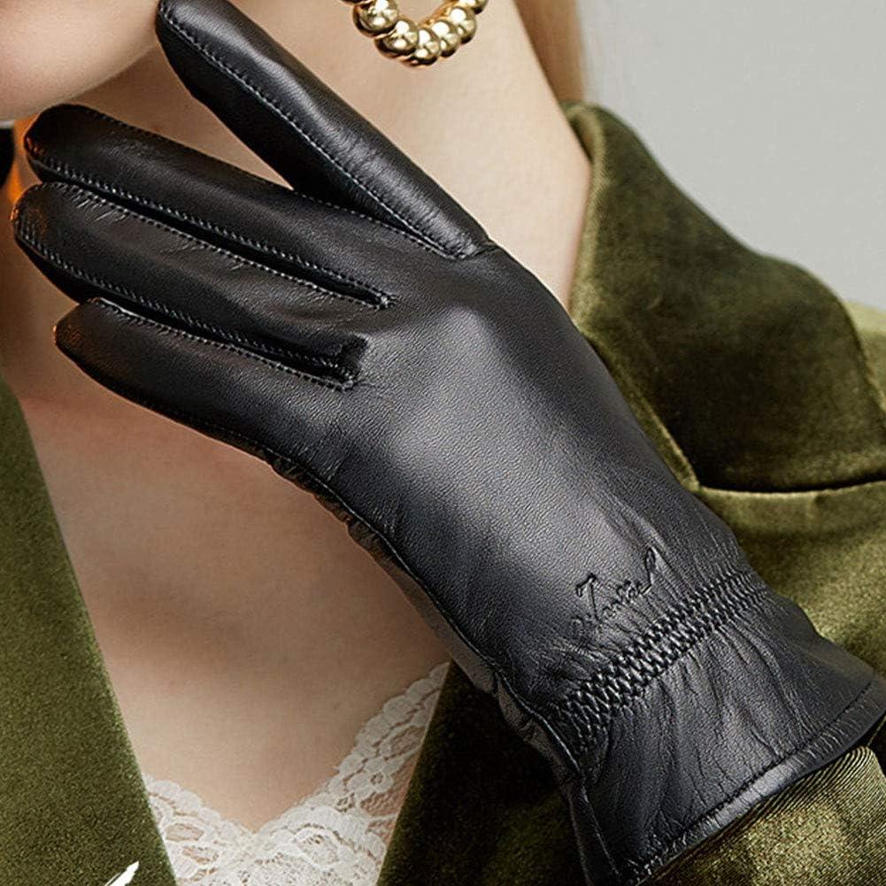 Womens Touchscreen Leather Gloves, Ladies Genuine Soft Lambskin Fashion Cashmere Lining Fleece Winter Driving Gloves,Black(Plush)-L