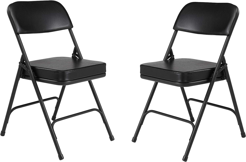 (2 Pack) NPS 3200 Series Premium 2  Vinyl Upholstered Double Hinge Folding Chair, Black