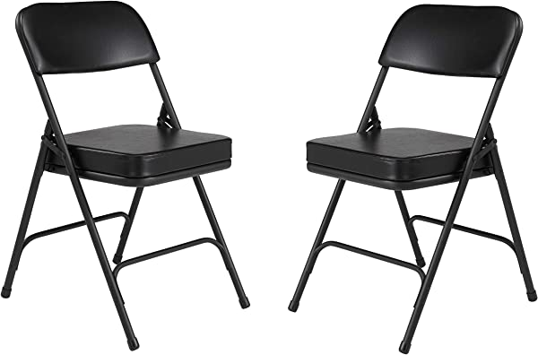 2 Pack NPS 3200 Series Premium 2 Vinyl Upholstered Double Hinge Folding Chair Black