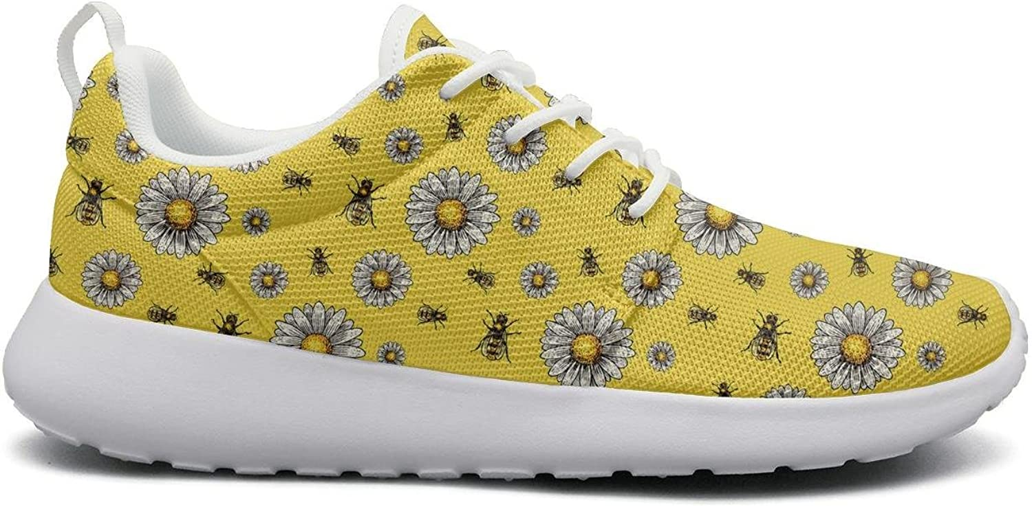 Eoyles gy Apiary bee Yellow Chamomile Young Women Slip Resistant Lightweight Running Gym shoes