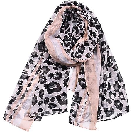 Fashion Leopard Print Scarf for Women Ladies Animal Print Scarves Floral Neck Scarf Shawl Wrap, Gift Ideas for Women