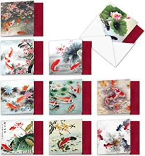 Assorted Boxed of 10 All Occasions Blank Note Cards 4 x 5.12 inch On Goldfish Pond w/Envelopes - Calm Images of Pretty Colored Koi Fish and Water Lily - Assortment Box of Notecards MQ4944OCB-B1x10