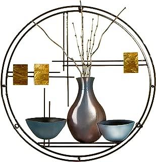 Southern Enterprises Vase and Bowl Hanging Wall Art - Hand Painted Finish - Decorative Circular Shape