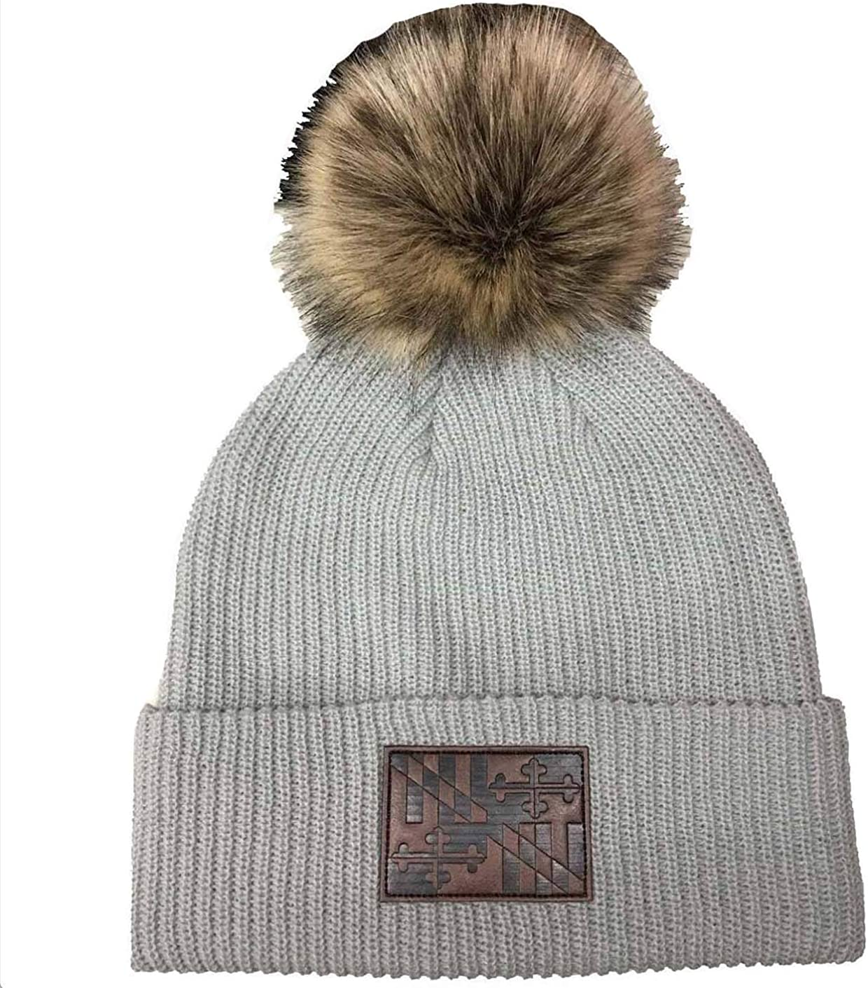 Route One Apparel | Maryland Flag Leather Patch Grey with Fur Pom Slouchy Knit Beanie Cap