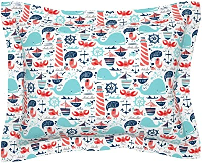 Amazon.com: Roostery Whale Flanged Pillow Sham Ocean ...