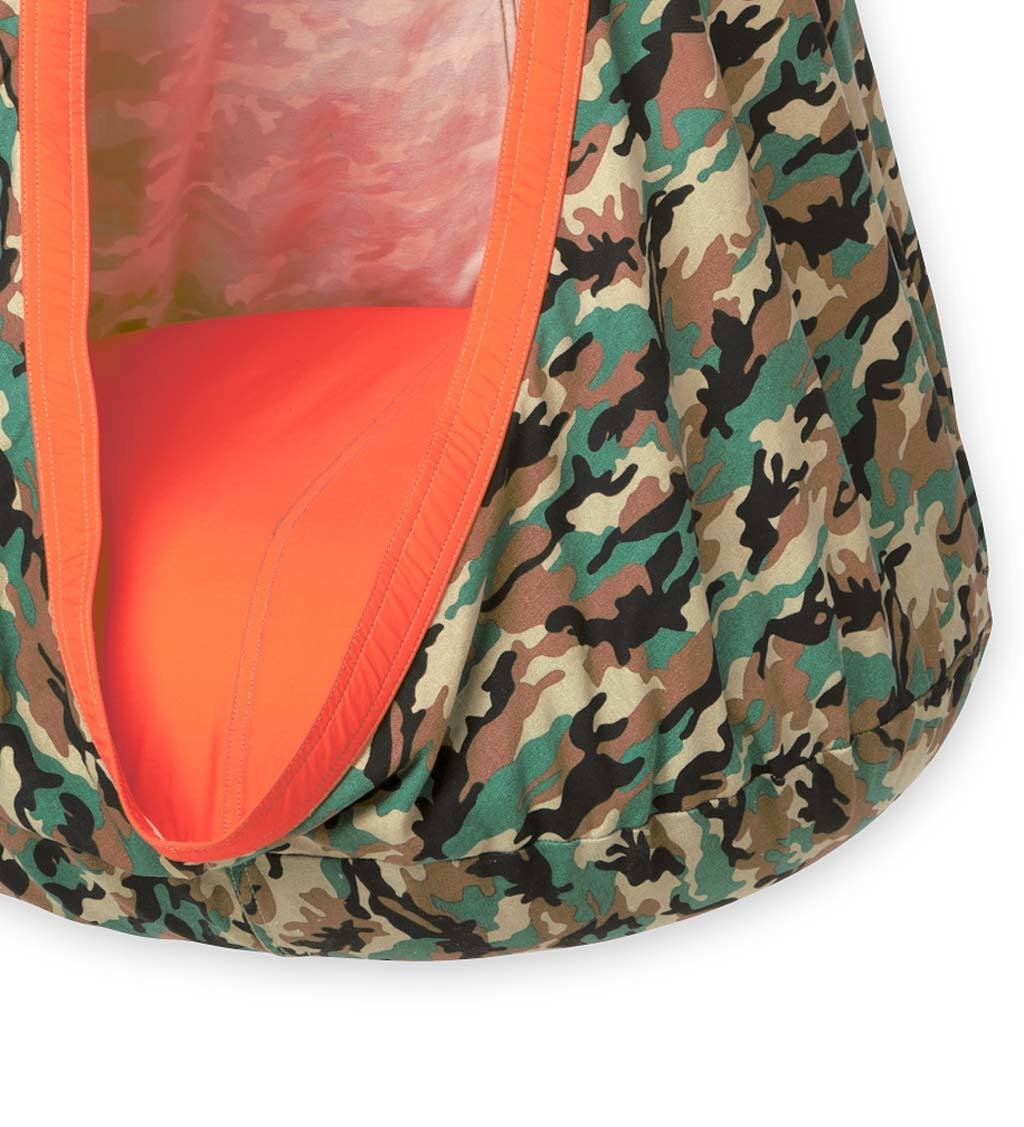 CamoPod HugglePod Indoor Outdoor Hanging Cocoon Chair Hammock Nest with Removable Cushion Cotton Canvas Camouflage Fabric Max Weight 200 LB