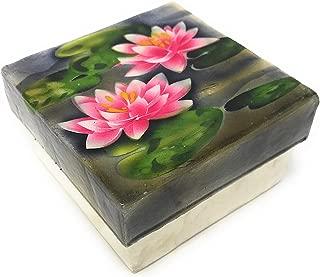 Kubla Crafts Pink Lotus Flowers Capiz Shell Keepsake Box, 3 Inches X 3 Inches
