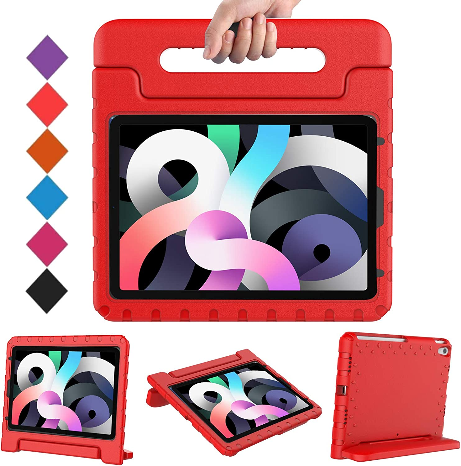 BMOUO Kids Case for iPad Air 4/iPad Air 10.9, iPad Air 4 Case, Shockproof Light Weight Convertible Handle Stand Kids Case for iPad Air 4th Generation 10.9 inch 2020 Release-Red