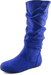 Women's Mid Calf Zipper Slouch Suede Comfortable Boots