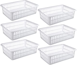 Zilpoo 6 Pack - Plastic Storage Organizing Basket, Cabinet Shelf Kitchen Drawer Refrigerator, Freezer Organizer Bins, 15