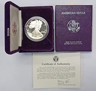 1986 S Proof American Eagle Silver Dollar with Original Packaging and COA $1 PR DCAM US Mint