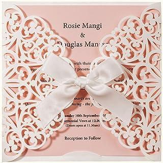 Wishmade - 50 invitaciones de boda cortadas con láser, color blanco y rosa, tarjetas de initación con funda de lazo para bebé, novia, ducha, cumpleaños, compromiso, quinceanera (Pack de 50pcs)