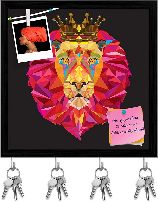 Artzfolio King Lion Head Key Holder Hooks   Notice Pin Board   Black Frame 20 X 20Inch