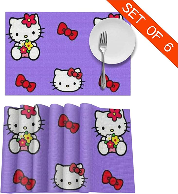 MPJTJGWZ Placemats For Dining Table Set Of 6 Heat Resistant Purple Hello Kitty Kitchen Table Decoration Wipe Clean 18 X 12