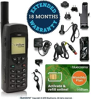 BlueCosmo Iridium 9555 Satellite Phone Bundle & Monthly Service Plan SIM Card - Voice, SMS Text Messaging - Online Activation - 24/7