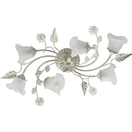 Plafonnier moderne de style floral en métal couleur blanc doré et abat-jours en verre décorés avec des fleurs en céramique pour salon ou chambre à coucher 6x60W E14