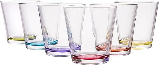 Coral Hera Modern European Glassware, Set of 6 Assorted Colors, 8 oz