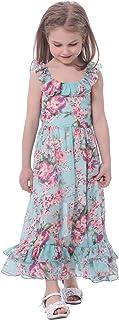 BONNY BILLY Girl's Spaghetti Straps Casual Bohemian Beach Maxi Long Dress