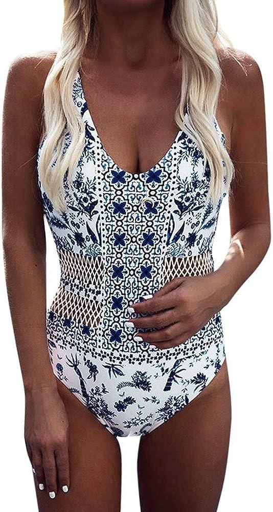 977 Women's One Piece Swimsuit Tummy Control V Neck Beachwear Bohemia Bathing Suit Monokini