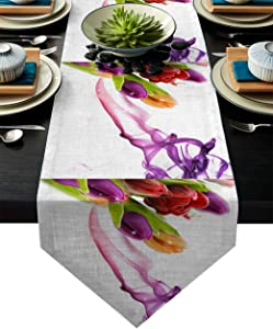 Meet 1998 Cotton Linen Table Runners Tulip Flower Art Tablecovers for Kitchen Garden Wedding Parties Dinner Indoor Outdoors Home Decorations White Purple 13x70 inches
