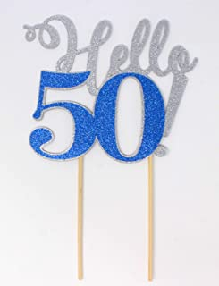 All About Details Hello 50! Cake Topper,1pc, 50th Birthday Decoration, Party Decor, Glitter Topper Multi CATHE50