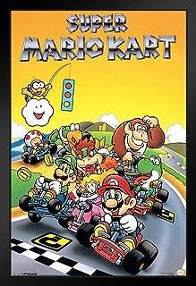 Pyramid America Super Mario Kart Super Nintendo SNES Go Kart Racing Video Game Luigi Princess Peach Black Wood Framed Poster 14x20