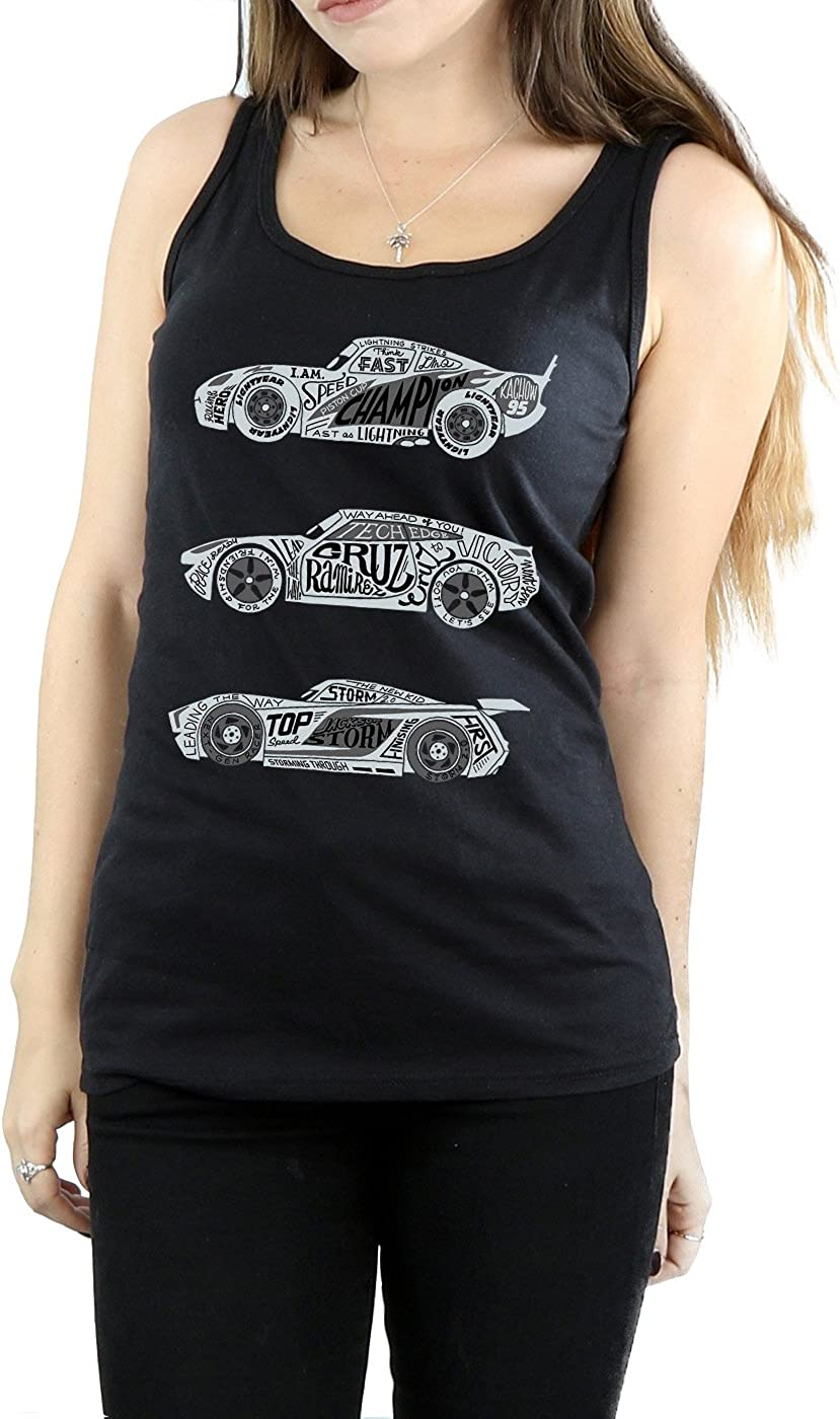 Disney Women's Cars Text Racers Tank Top Large Black