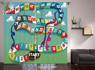 Thermal Insulated Blackout Window Curtain [ Board Game,Swirled Snakes and Ladders Start and Finishing Line Clouds Crown Winner Childish Decorative,Multicolor ] for Living Room Bedroom Dorm Room Classr