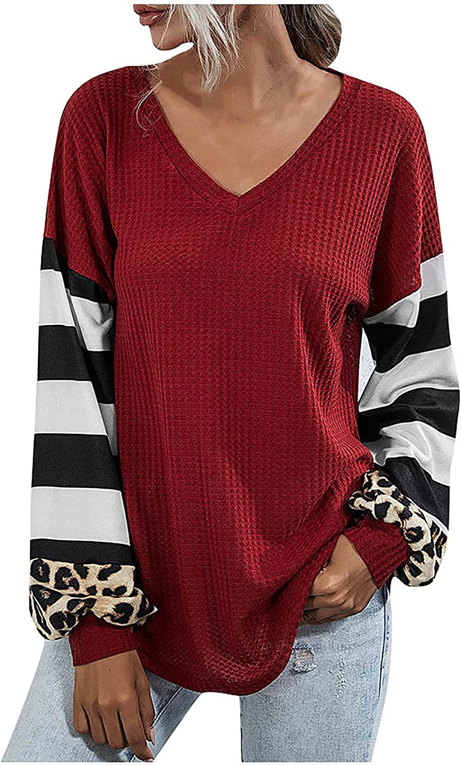 Sweaters for Women Long Sleeve Color Block Leopard Splicing Casual V Neck Tunic Tops Loose Cute Pullover Tops
