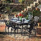 Lazy Susan - June 150 x 95 cm Ovaler Gartentisch mit 6 Stühlen - Gartenmöbel Set aus Metall, Antik Bronze (April Stühle)