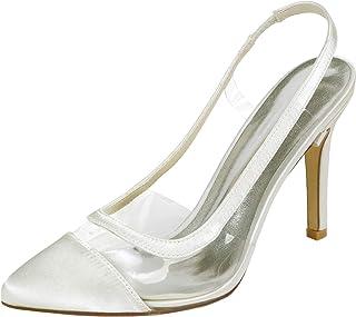 Wedding Bridal Shoes Womens Slingback Satin Court Shoes Stiletto Heels Dress Pumps