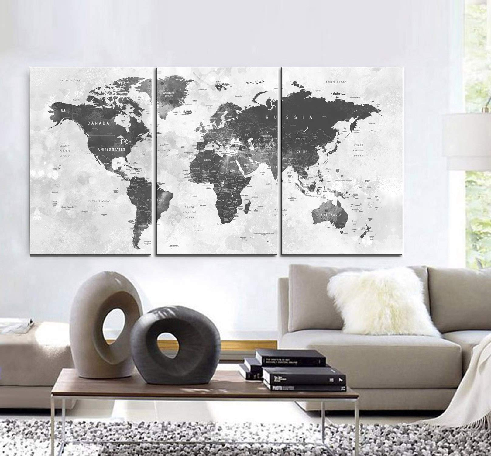 "Original by BoxColors Large 30""x 60"" 3 Panels 30x20 Ea Art Canvas Print world Map watercolor push pin gray Wall decor Home interior (Included framed 1.5"" depth)"