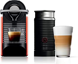 Nespresso Pixie Electric Coffee Maker with Aeroccino Bundle, Red