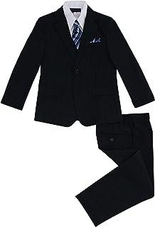 Luca Gabriel Toddler Boys' 5 Piece Pinstripe Suite Handkerchief Set